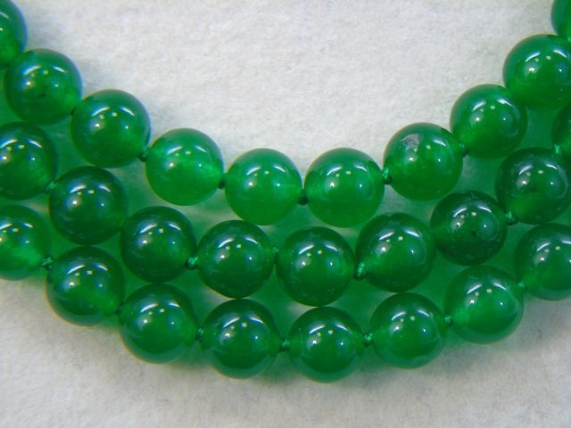 Triple Strand Beaded Chinese Jade Necklace - 3