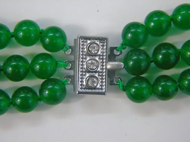 Triple Strand Beaded Chinese Jade Necklace - 4