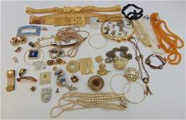 Large Collection of Vintage Costume Jewelry Items