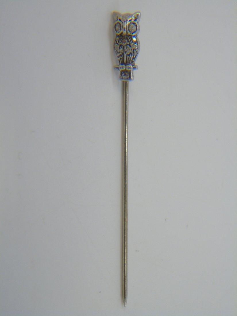 Antique Estate Gold & Diamond Owl Stick Pin
