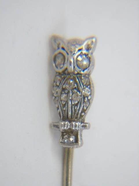 Antique Estate Gold & Diamond Owl Stick Pin - 2