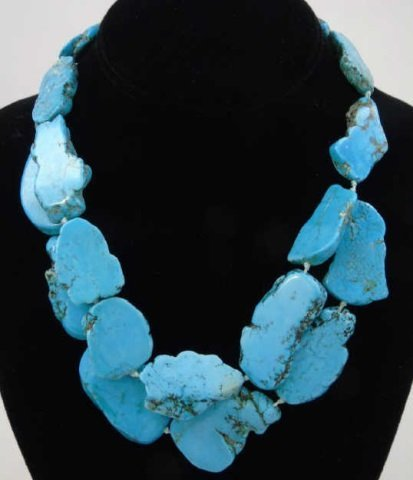 Contemporary Turquoise Beaded Panel Necklace