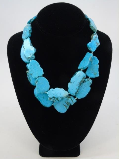 Contemporary Turquoise Beaded Panel Necklace - 2