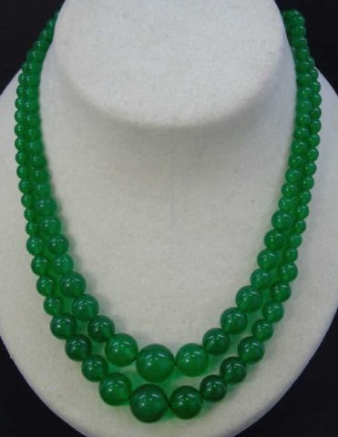 Pair Carved Chinese Jade Beaded Necklace Strands