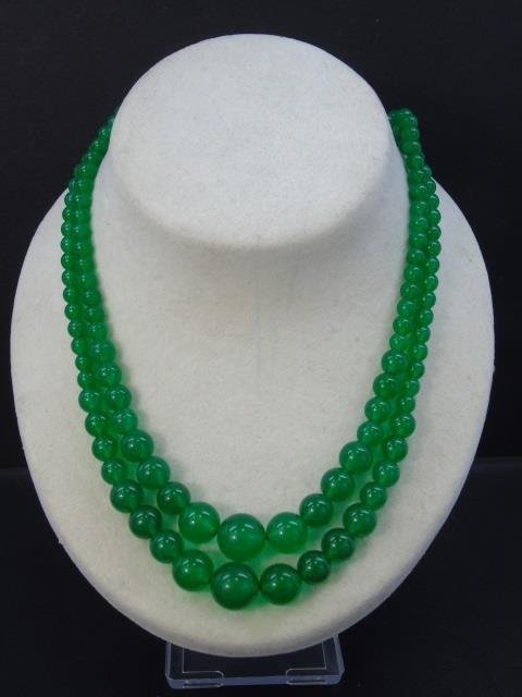 Pair Carved Chinese Jade Beaded Necklace Strands - 2