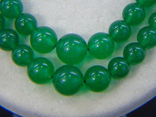 Pair Carved Chinese Jade Beaded Necklace Strands - 3