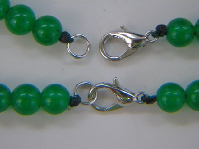 Pair Carved Chinese Jade Beaded Necklace Strands - 4