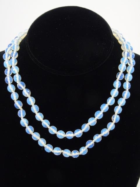 Pair Faceted Moonstone Bead Necklace Strands