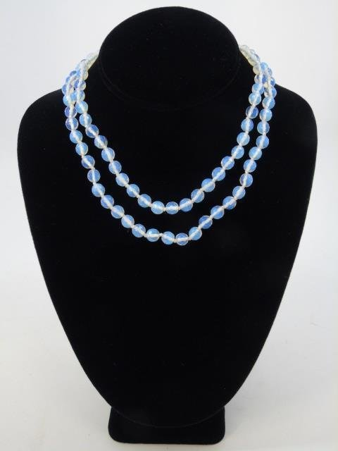 Pair Faceted Moonstone Bead Necklace Strands - 2