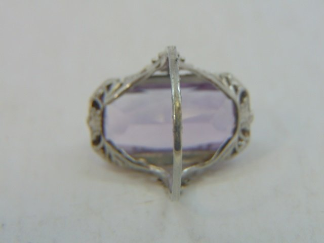 Antique Estate 18kt White Gold & Amethyst Ring - 2
