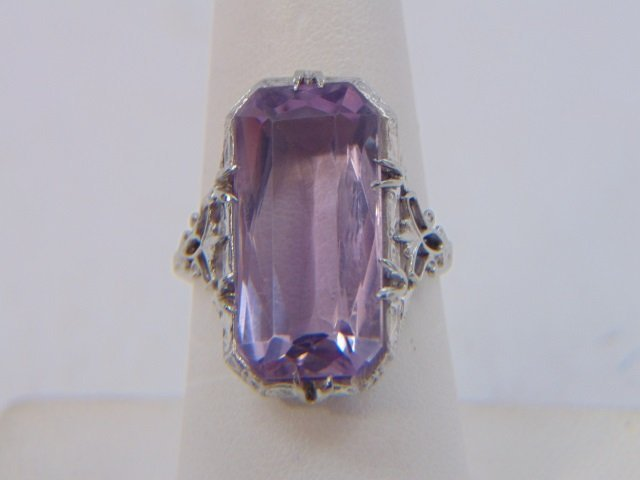 Antique Estate 18kt White Gold & Amethyst Ring - 3
