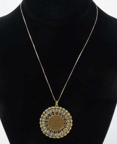 Estate 14kt Gold Chain w Indian Head Penny Pendant
