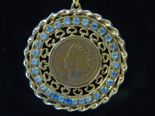 Estate 14kt Gold Chain w Indian Head Penny Pendant - 2
