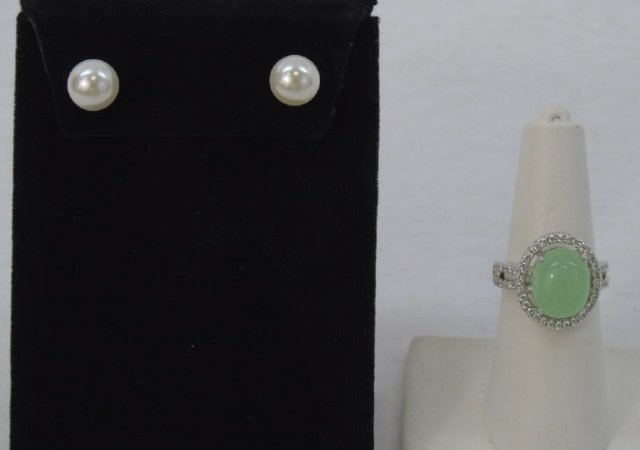 Cultured White Pearl Earrings & Cabochon Ring