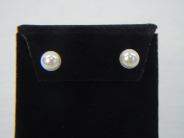 Cultured White Pearl Earrings & Cabochon Ring - 4