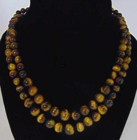 Pair Graduated Bead Tiger's Eye Necklace Strands