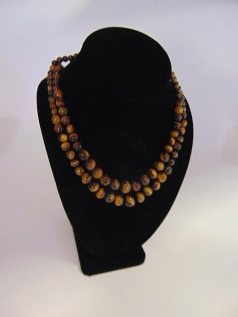 Pair Graduated Bead Tiger's Eye Necklace Strands - 2