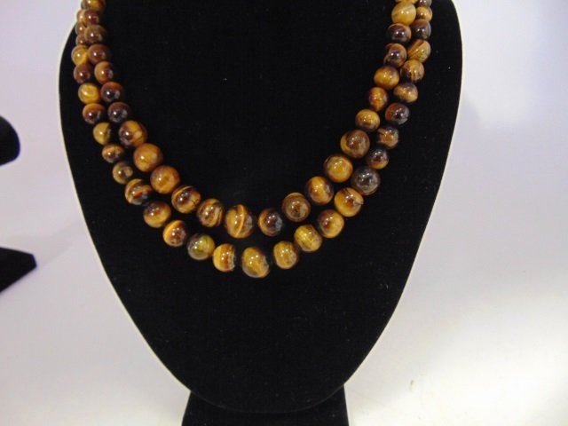 Pair Graduated Bead Tiger's Eye Necklace Strands - 3