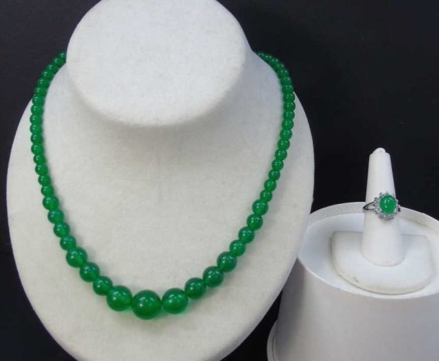 Chinese Graduated Jade Bead Necklace & Ring