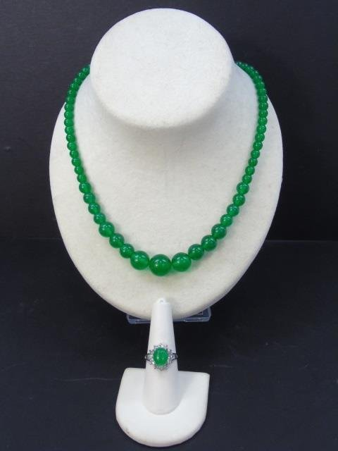 Chinese Graduated Jade Bead Necklace & Ring - 2