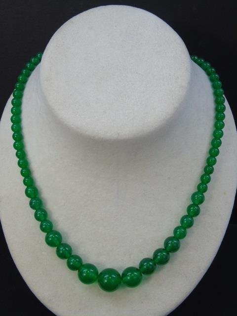 Chinese Graduated Jade Bead Necklace & Ring - 3