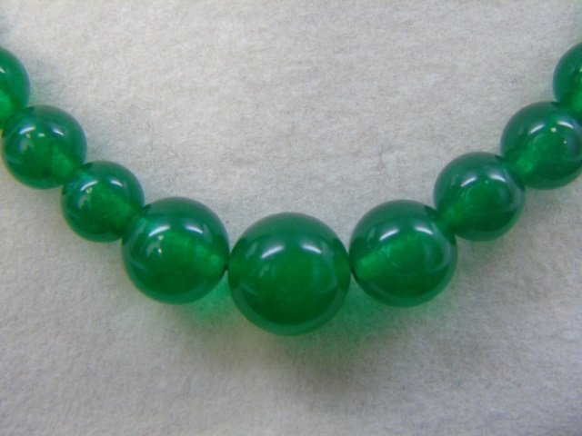 Chinese Graduated Jade Bead Necklace & Ring - 4