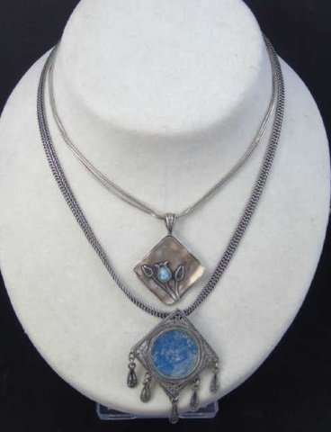 Two Vintage Sterling Silver Necklaces w Pendants