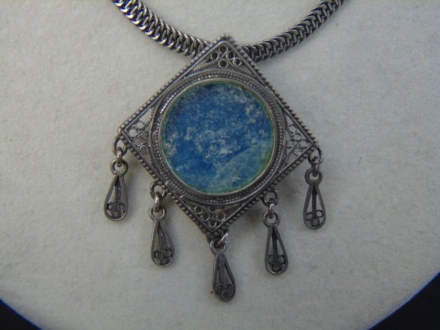 Two Vintage Sterling Silver Necklaces w Pendants - 3