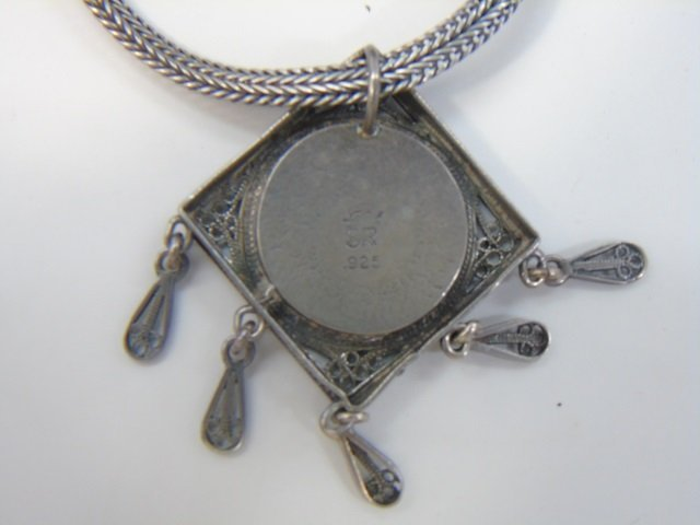 Two Vintage Sterling Silver Necklaces w Pendants - 4