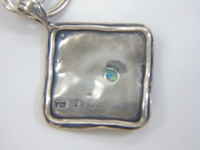 Two Vintage Sterling Silver Necklaces w Pendants - 8
