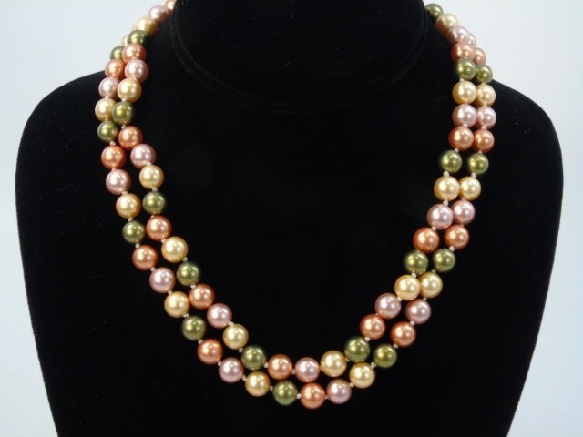 Pair of Cultured South Sea Colored Pearl Necklaces