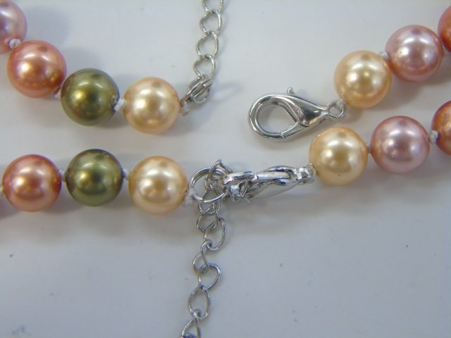 Pair of Cultured South Sea Colored Pearl Necklaces - 2