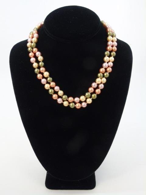 Pair of Cultured South Sea Colored Pearl Necklaces - 3