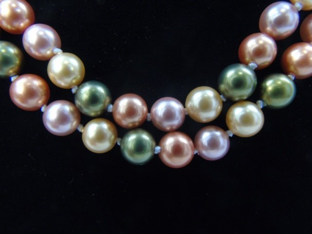 Pair of Cultured South Sea Colored Pearl Necklaces - 4