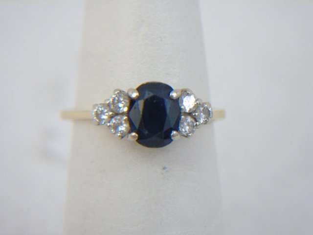 Estate 14kt Yellow Gold Sapphire & Diamond Ring