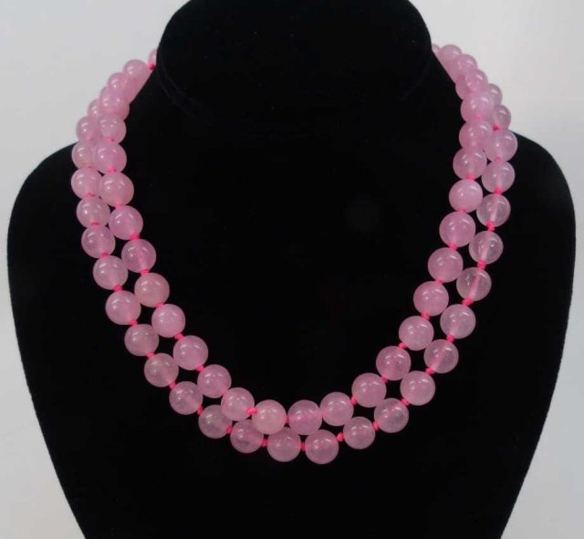 Pair of Hand Knotted Rose Quartz Necklaces