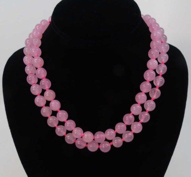 Pair of Hand Knotted Rose Quartz Necklaces