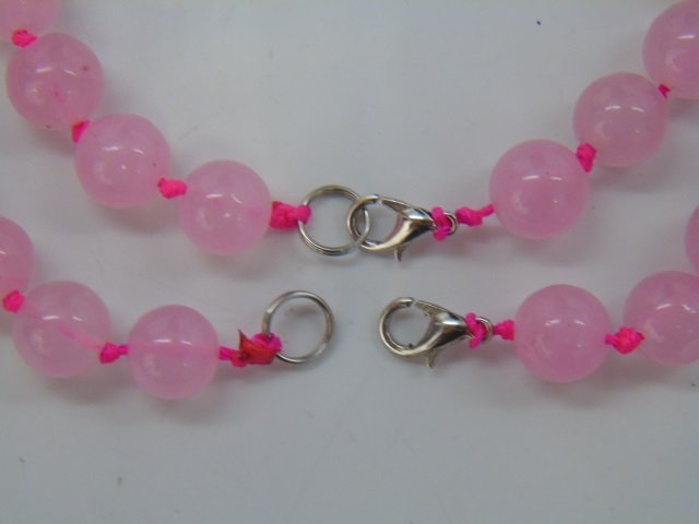 Pair of Hand Knotted Rose Quartz Necklaces - 3