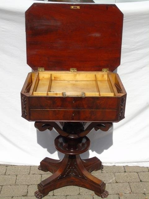 Antique Ornately Carved Mahogany Sewing Table - 2