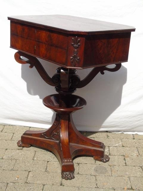 Antique Ornately Carved Mahogany Sewing Table - 4