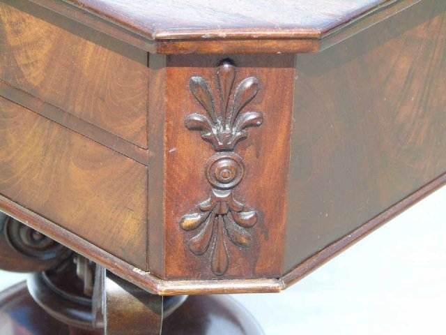 Antique Ornately Carved Mahogany Sewing Table - 6