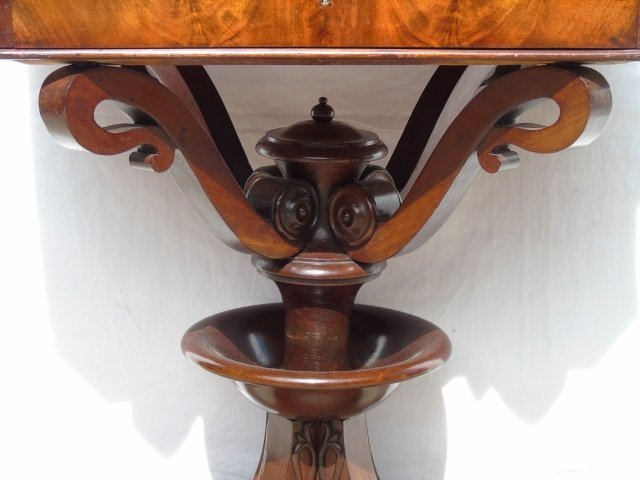Antique Ornately Carved Mahogany Sewing Table - 7