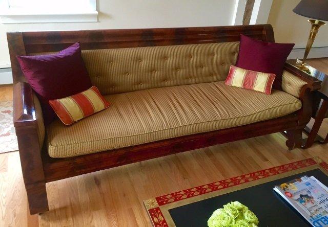 Grand Antique Mahogany Empire Sofa Design Fabric