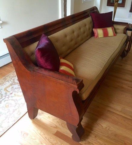 Grand Antique Mahogany Empire Sofa Design Fabric - 2