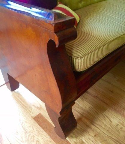 Grand Antique Mahogany Empire Sofa Design Fabric - 3