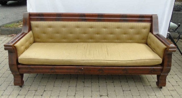 Grand Antique Mahogany Empire Sofa Design Fabric - 4