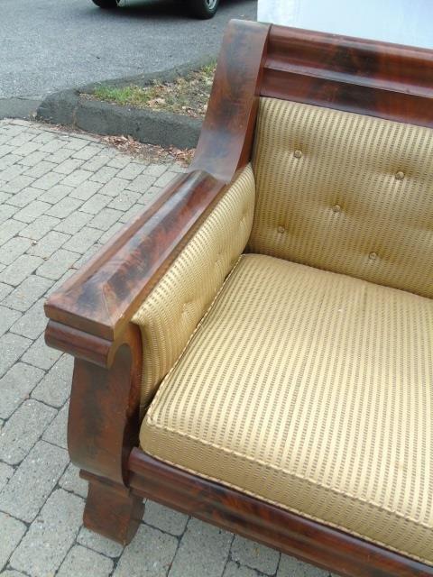Grand Antique Mahogany Empire Sofa Design Fabric - 5