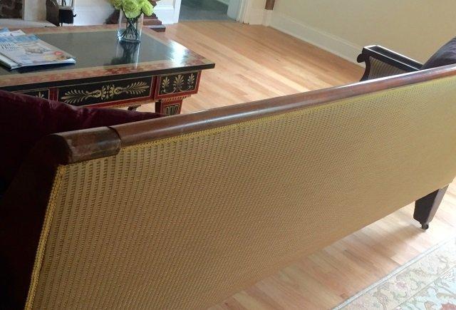 Grand Antique Mahogany Empire Sofa Design Fabric - 8