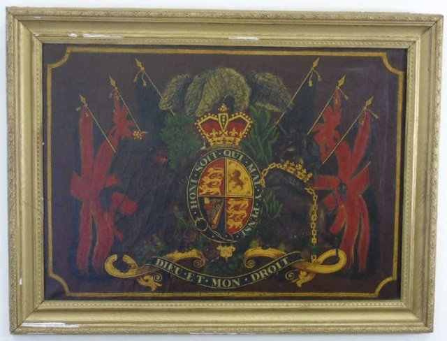 Antique 19th C Painting United Kingdom Coat of Arm