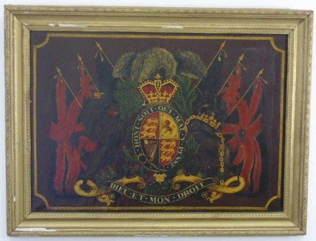 Antique 19th C Painting United Kingdom Coat of Arm